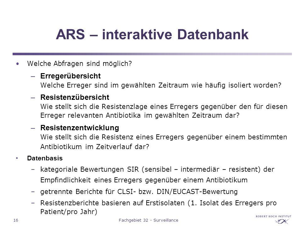 ARS – interaktive Datenbank