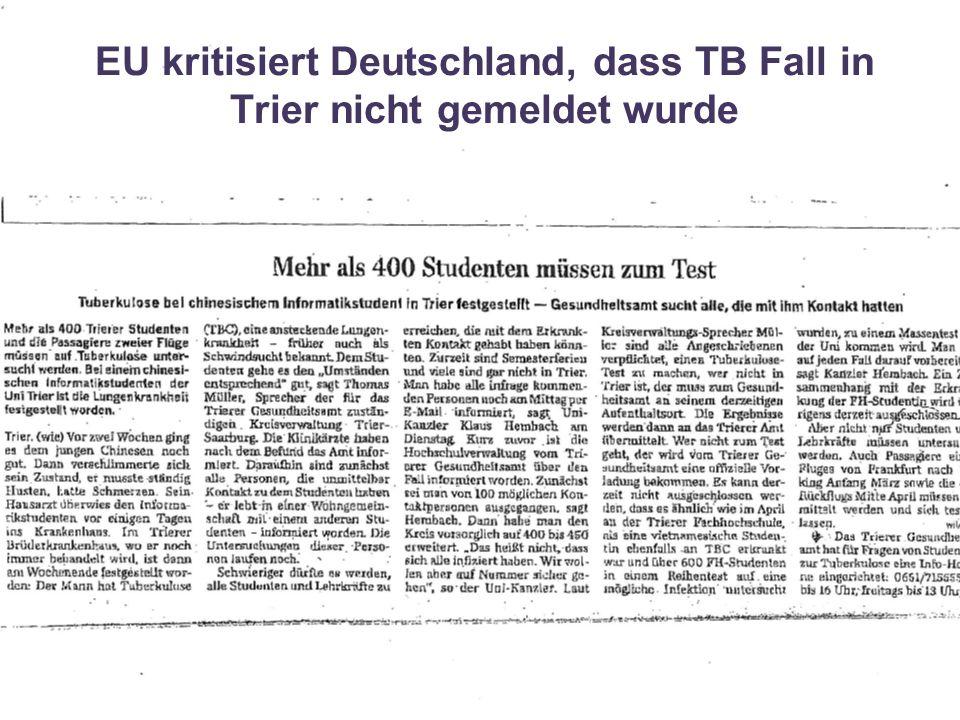 EU kritisiert Deutschland, dass TB Fall in Trier nicht gemeldet wurde
