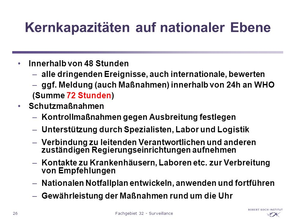 Kernkapazitäten auf nationaler Ebene