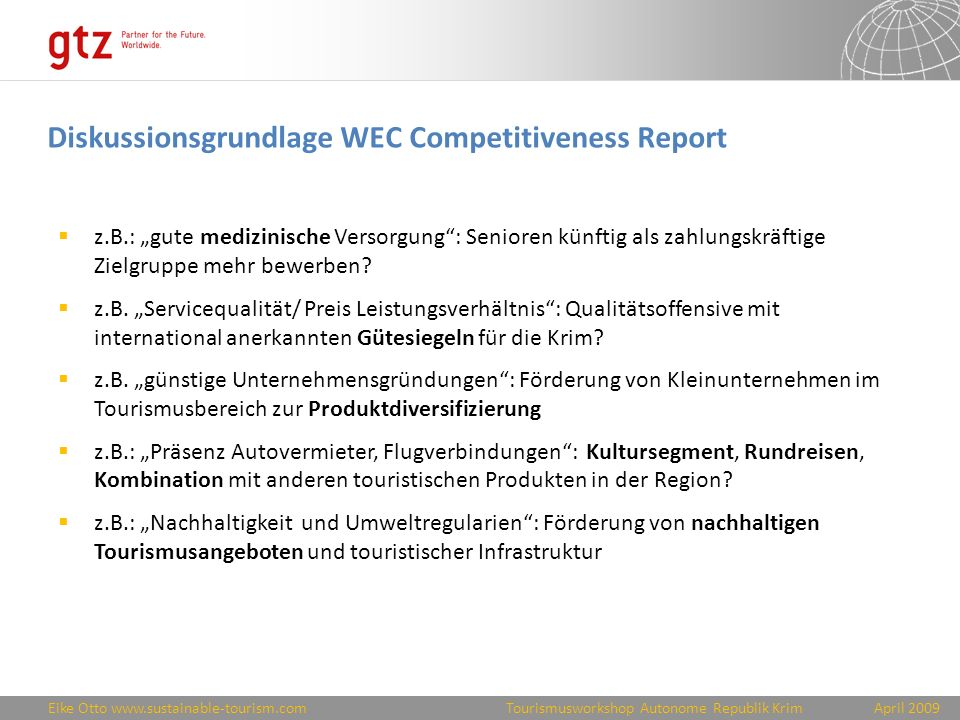 Diskussionsgrundlage WEC Competitiveness Report