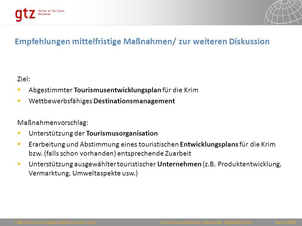 Empfehlungen mittelfristige Maßnahmen/ zur weiteren Diskussion
