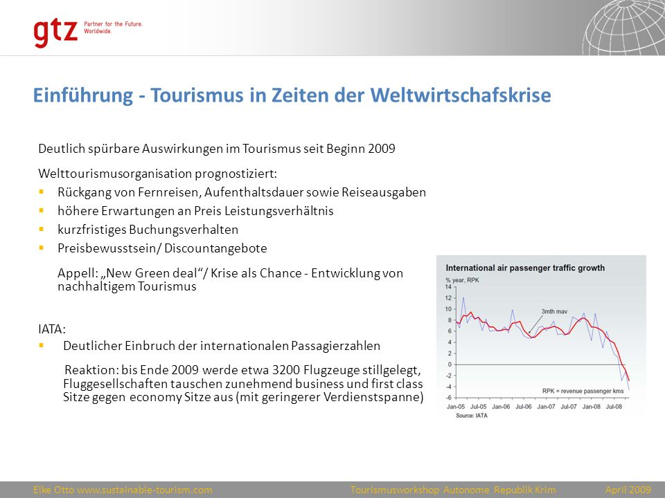 Einführung - Tourismus in Zeiten der Weltwirtschafskrise