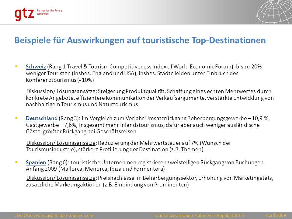 Beispiele für Auswirkungen auf touristische Top-Destinationen