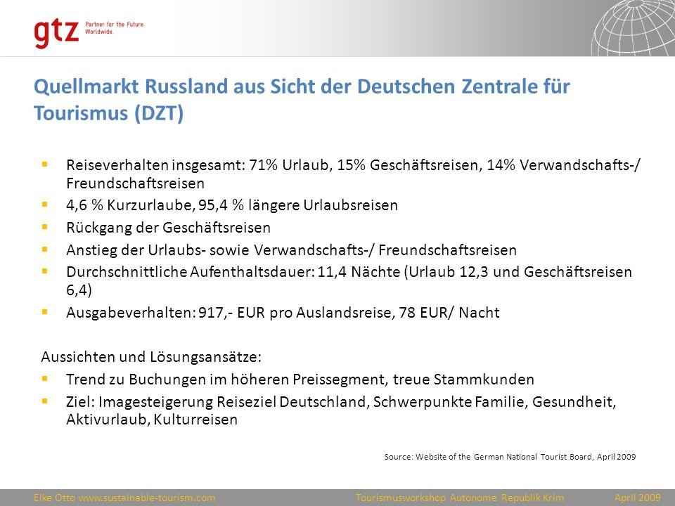 Quellmarkt Russland aus Sicht der Deutschen Zentrale für Tourismus (DZT)