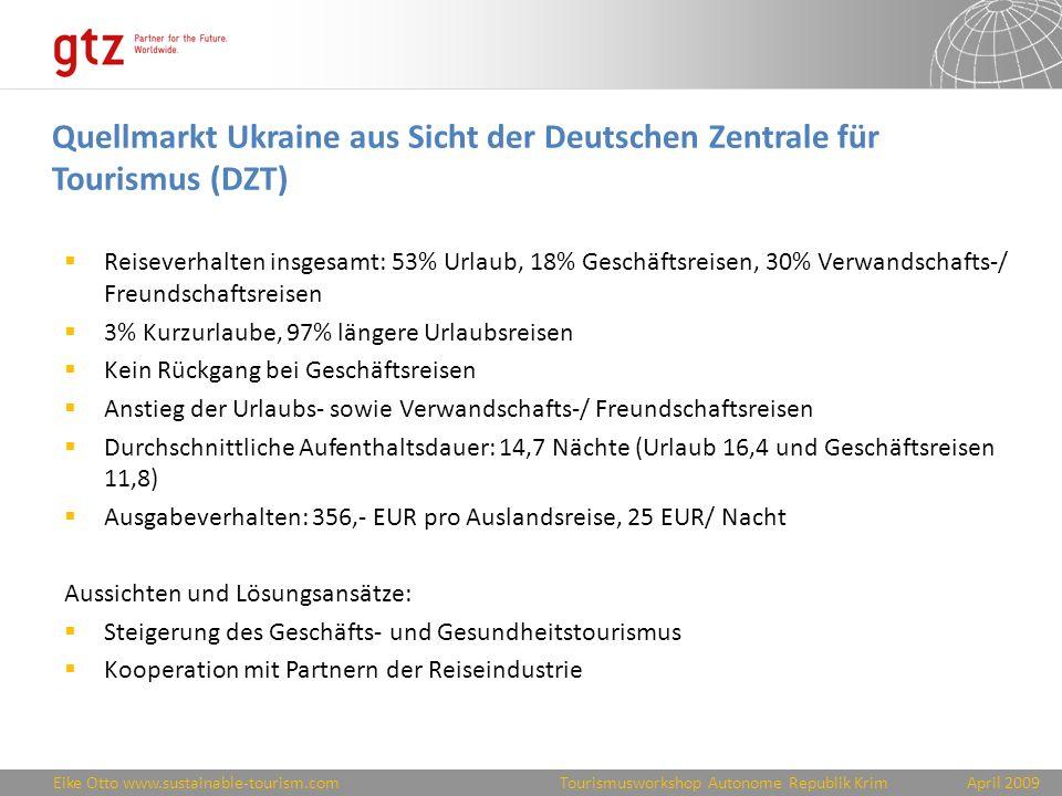 Quellmarkt Ukraine aus Sicht der Deutschen Zentrale für Tourismus (DZT)