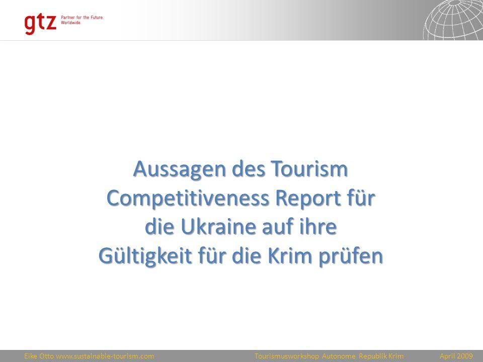 Aussagen des Tourism Competitiveness Report für die Ukraine auf ihre Gültigkeit für die Krim prüfen