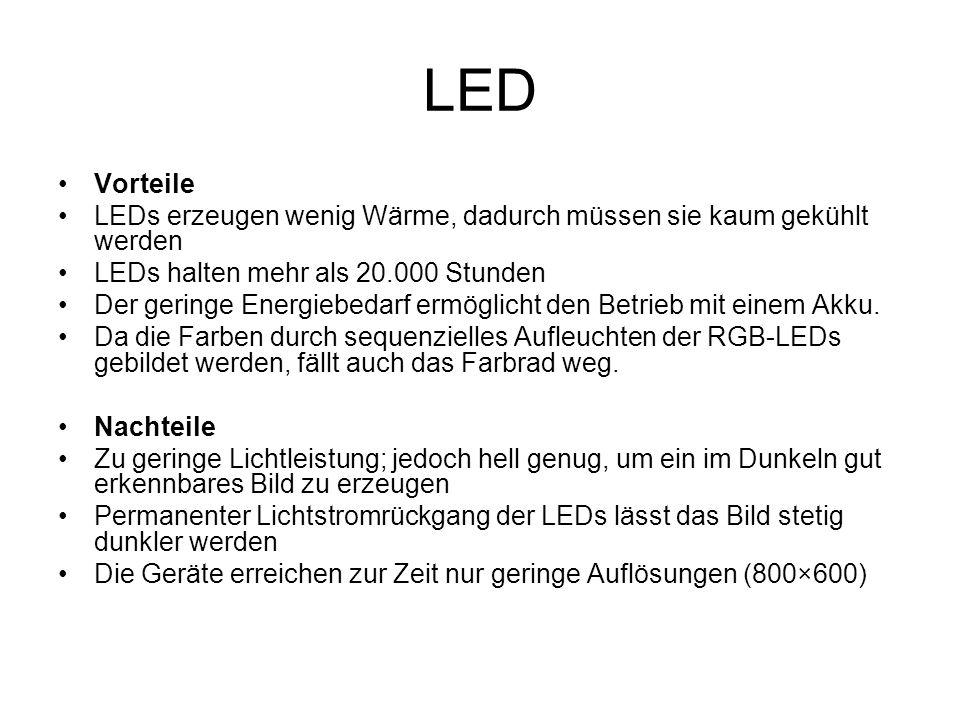 LED Vorteile. LEDs erzeugen wenig Wärme, dadurch müssen sie kaum gekühlt werden. LEDs halten mehr als 20.000 Stunden.