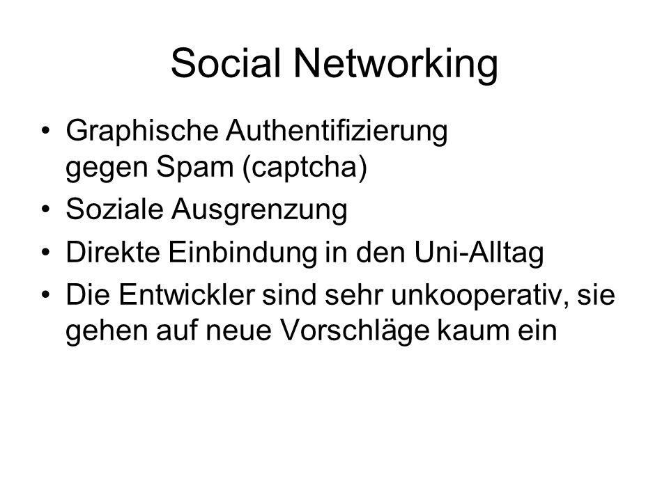Social Networking Graphische Authentifizierung gegen Spam (captcha)