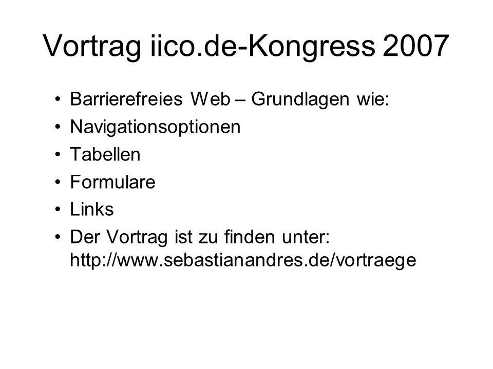 Vortrag iico.de-Kongress 2007