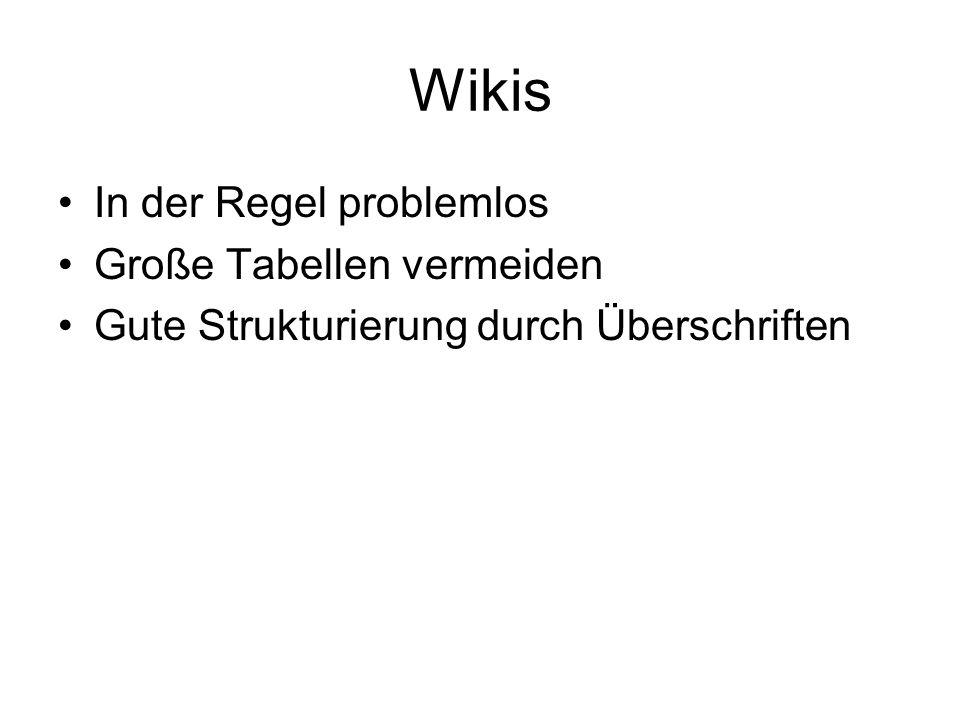 Wikis In der Regel problemlos Große Tabellen vermeiden