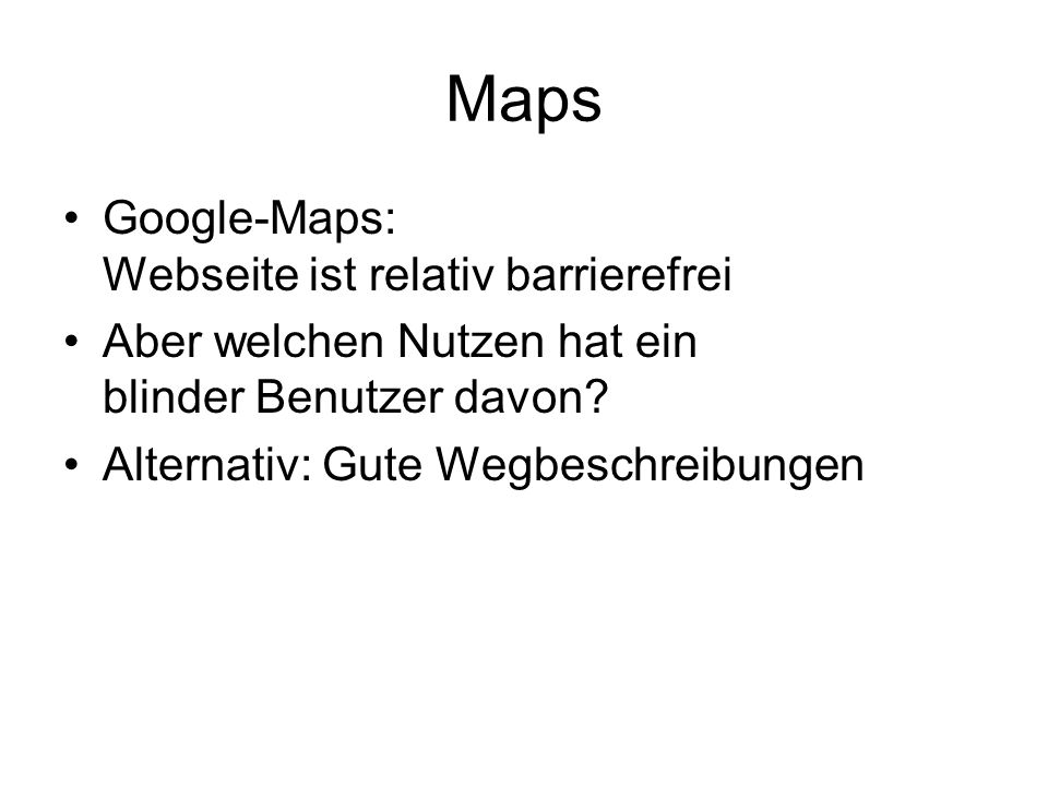 Maps Google-Maps: Webseite ist relativ barrierefrei