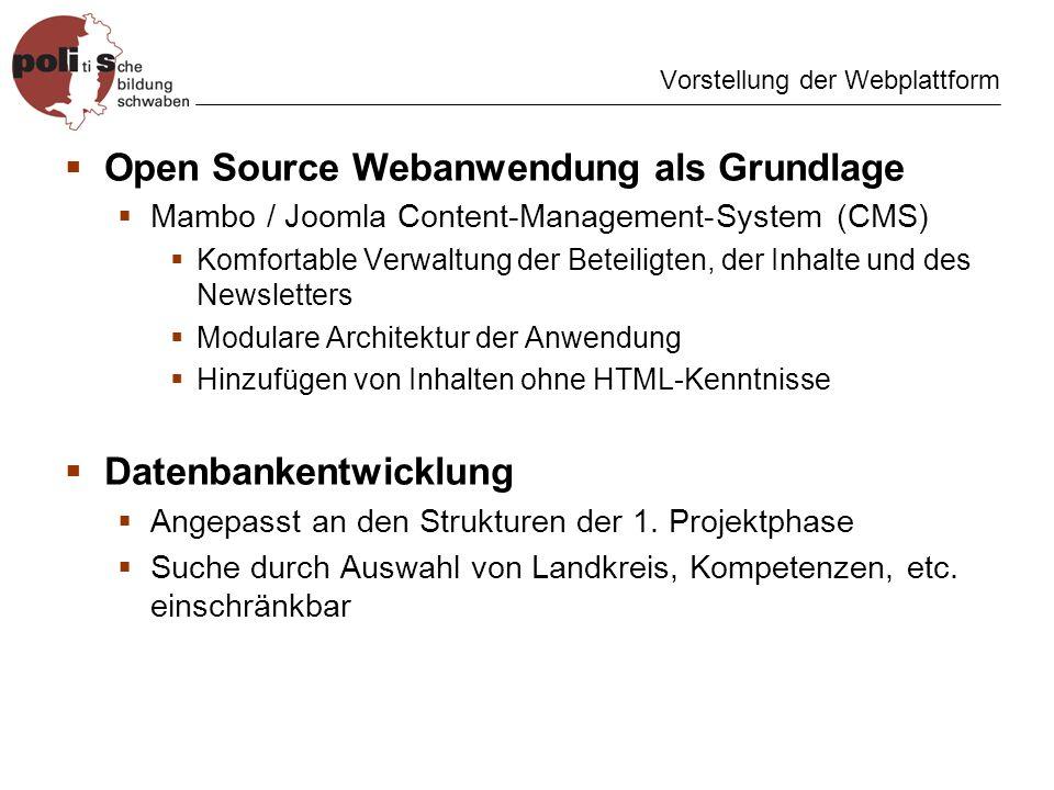 Vorstellung der Webplattform