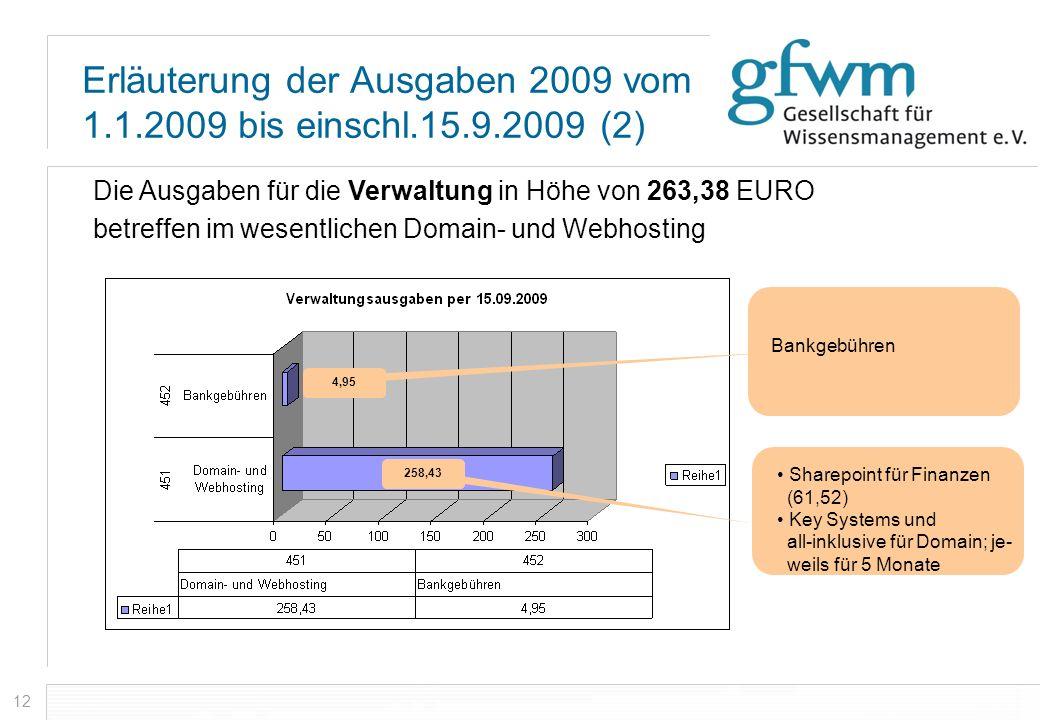 Erläuterung der Ausgaben 2009 vom 1.1.2009 bis einschl.15.9.2009 (2)