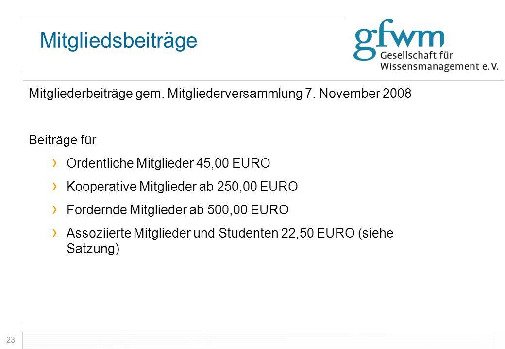 Mitgliedsbeiträge Mitgliederbeiträge gem. Mitgliederversammlung 7. November 2008. Beiträge für. Ordentliche Mitglieder 45,00 EURO.