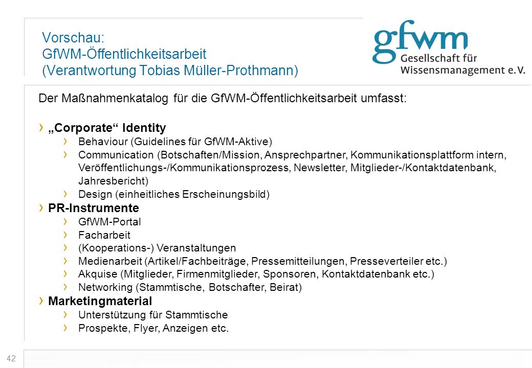 Vorschau: GfWM-Öffentlichkeitsarbeit (Verantwortung Tobias Müller-Prothmann)