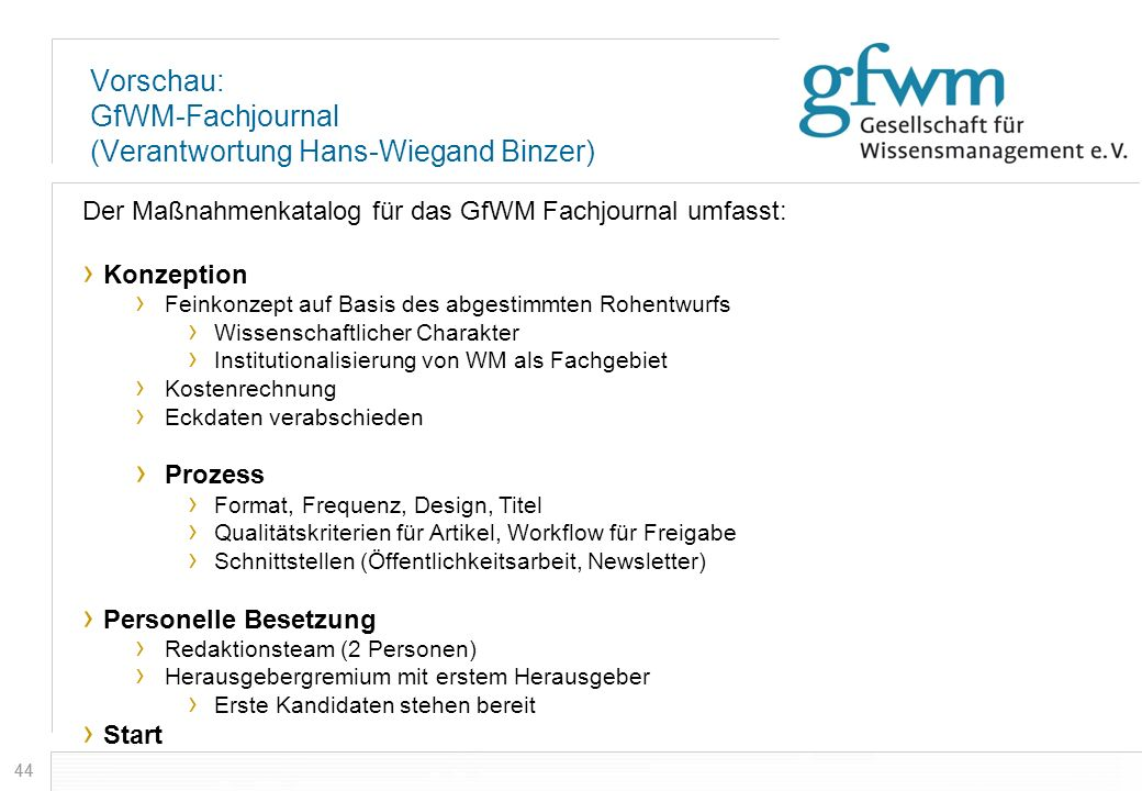 Vorschau: GfWM-Fachjournal (Verantwortung Hans-Wiegand Binzer)