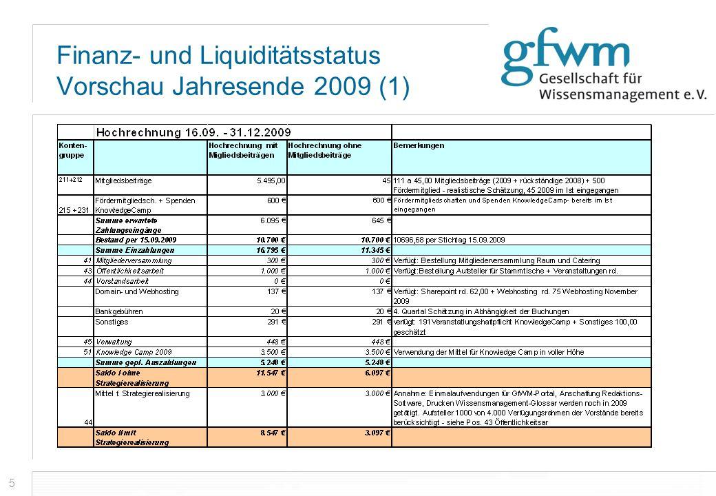 Finanz- und Liquiditätsstatus Vorschau Jahresende 2009 (1)