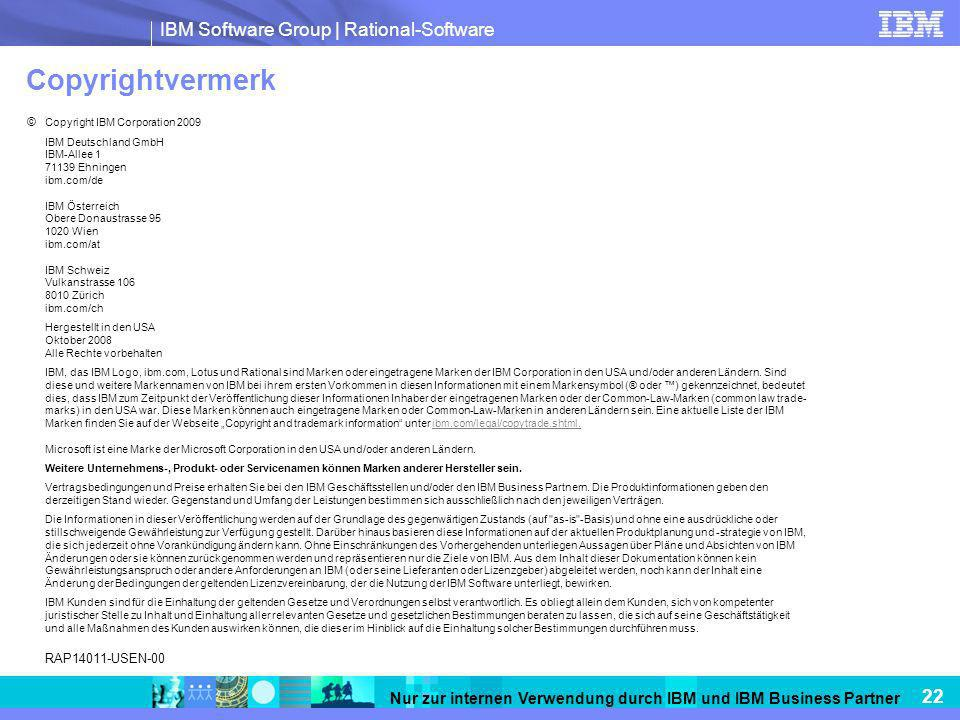 Copyrightvermerk RAP14011-USEN-00 © Copyright IBM Corporation 2009