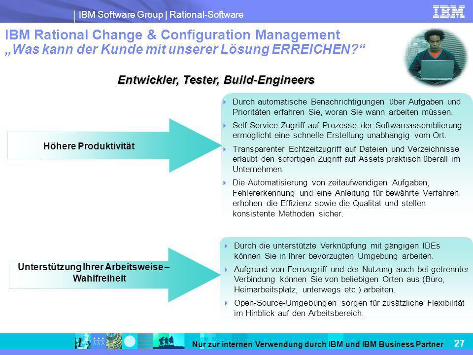 """IBM Rational Change & Configuration Management """"Was kann der Kunde mit unserer Lösung ERREICHEN"""