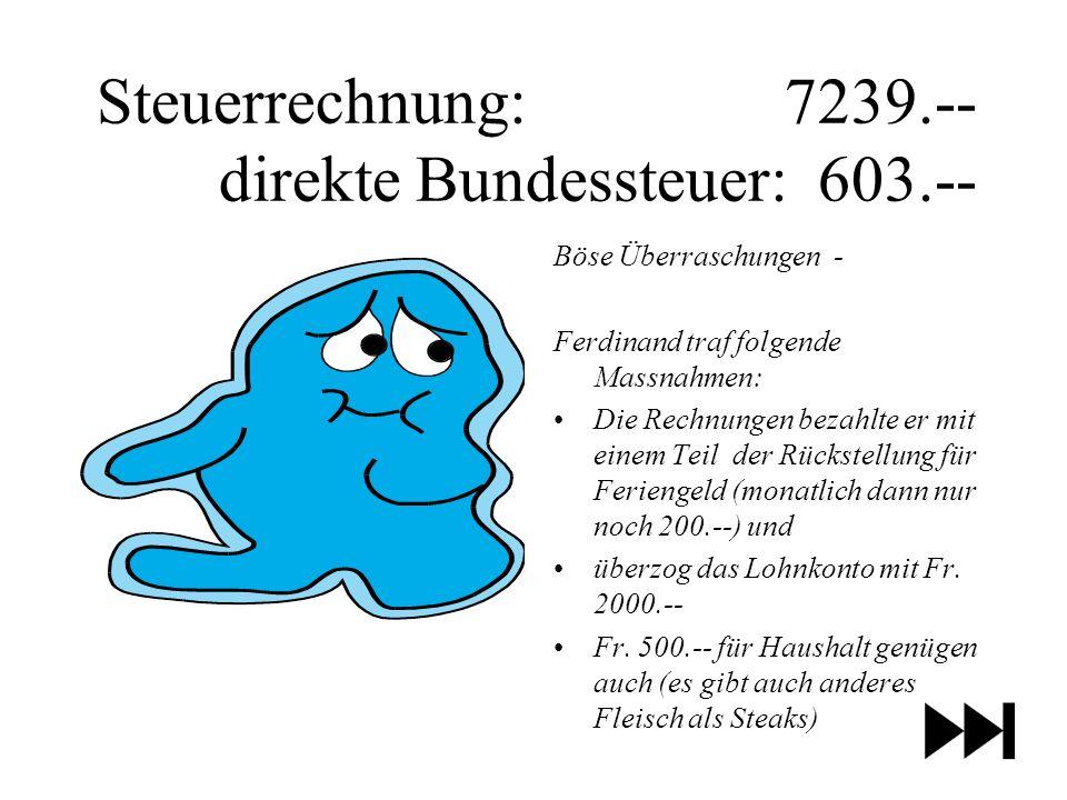 Steuerrechnung: 7239.-- direkte Bundessteuer: 603.--