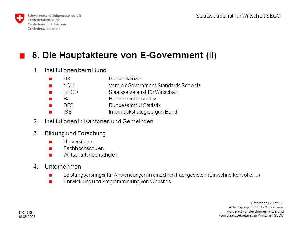 5. Die Hauptakteure von E-Government (II)