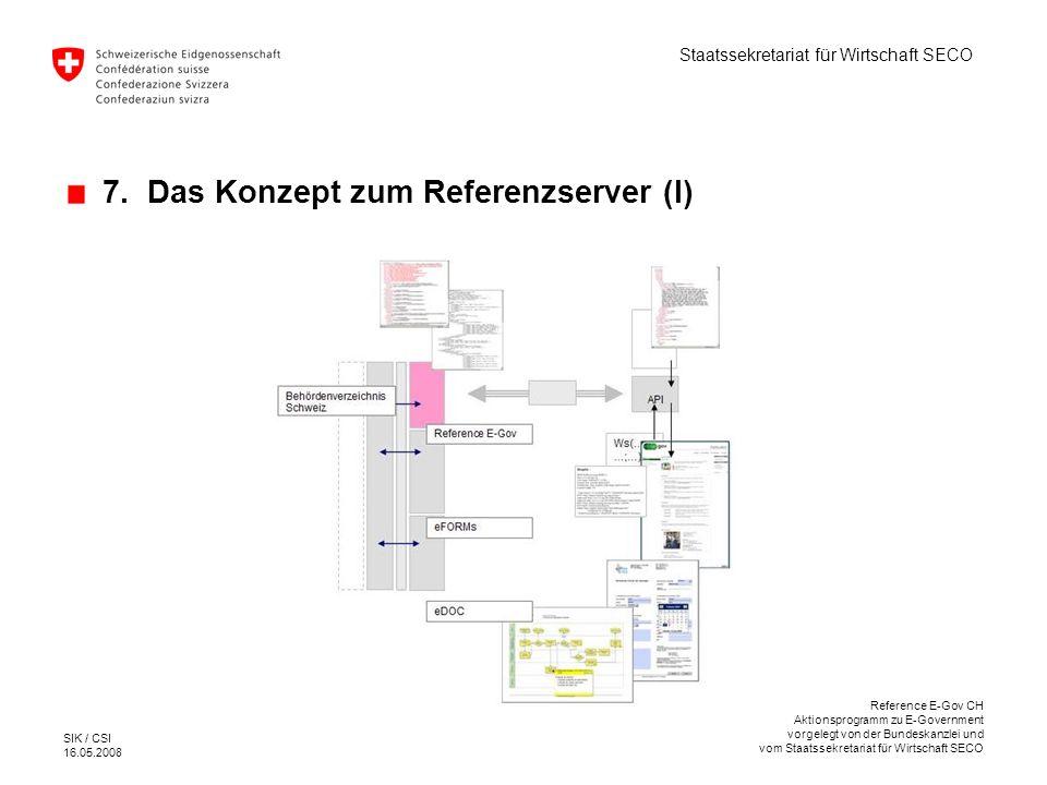 7. Das Konzept zum Referenzserver (I)