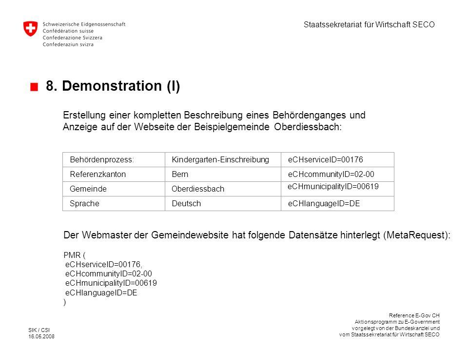 8. Demonstration (I) Erstellung einer kompletten Beschreibung eines Behördenganges und Anzeige auf der Webseite der Beispielgemeinde Oberdiessbach: