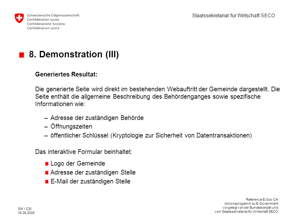8. Demonstration (III) Generiertes Resultat: