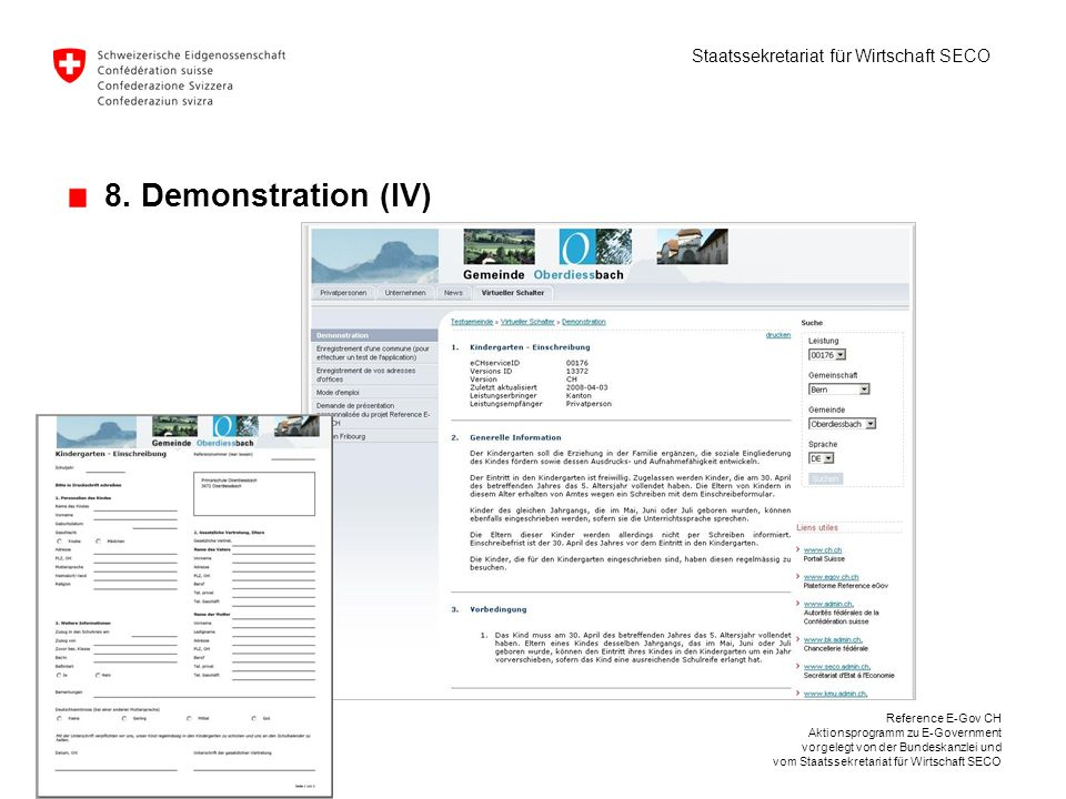 8. Demonstration (IV) Reference E-Gov CH