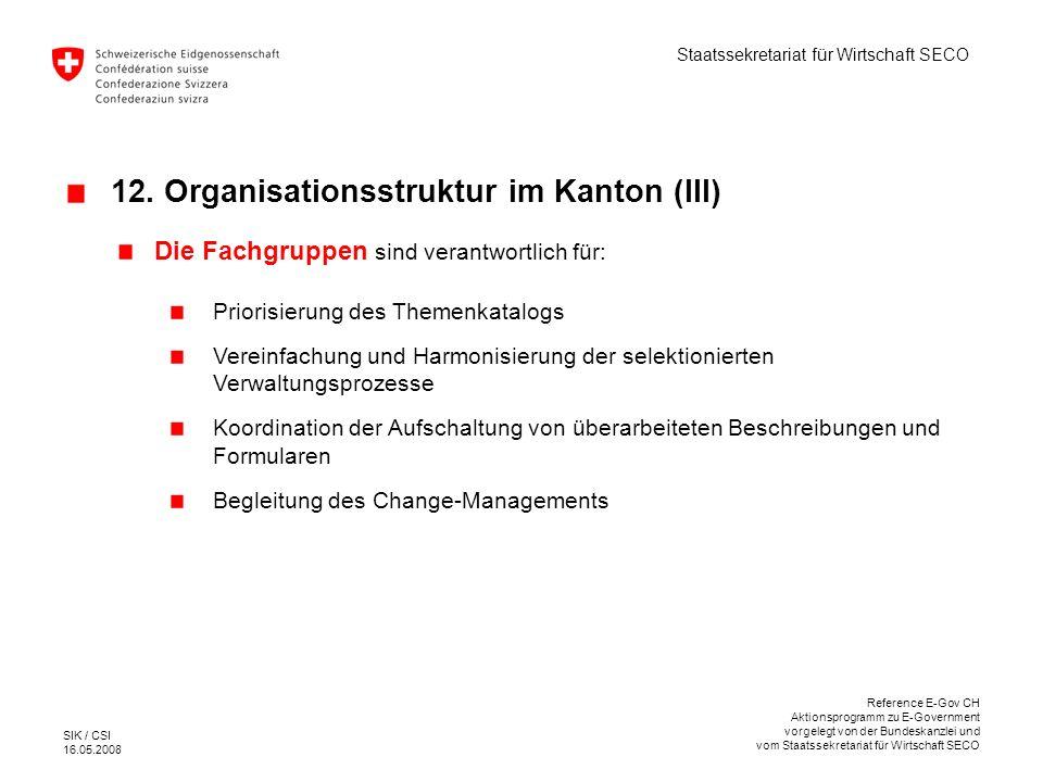 12. Organisationsstruktur im Kanton (III)