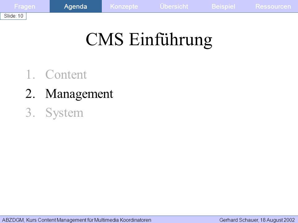 CMS Einführung Content Management System Fragen Agenda Konzepte