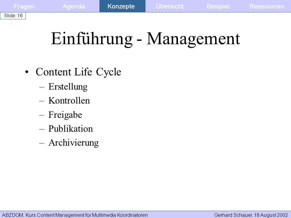 Einführung - Management