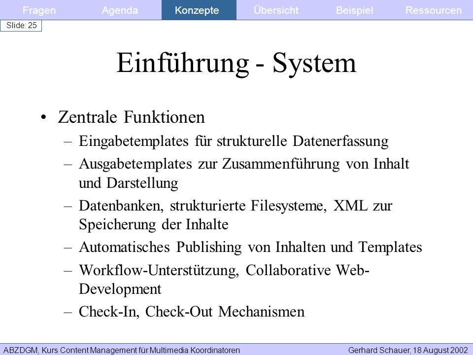 Einführung - System Zentrale Funktionen
