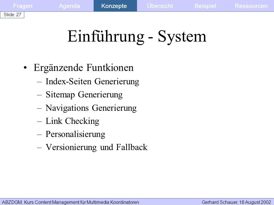 Einführung - System Ergänzende Funtkionen Index-Seiten Generierung