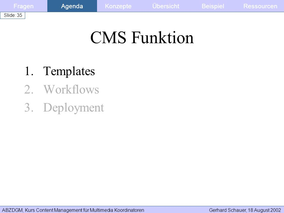 CMS Funktion Templates Workflows Deployment Fragen Agenda Konzepte