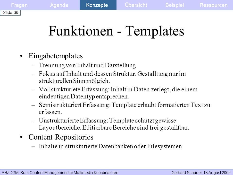 Funktionen - Templates