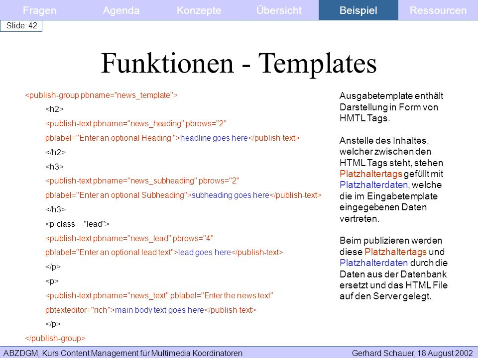 Funktionen - Templates
