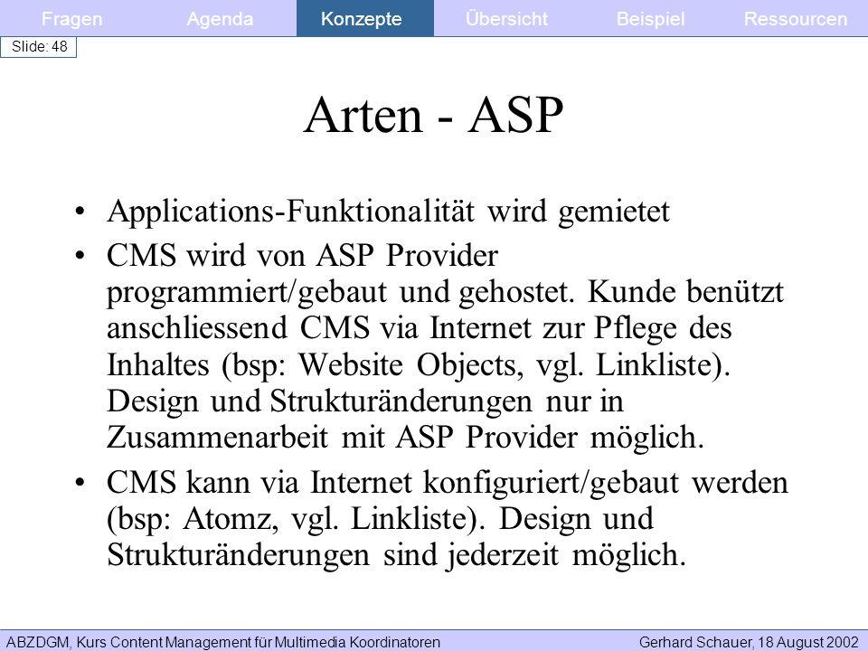 Arten - ASP Applications-Funktionalität wird gemietet