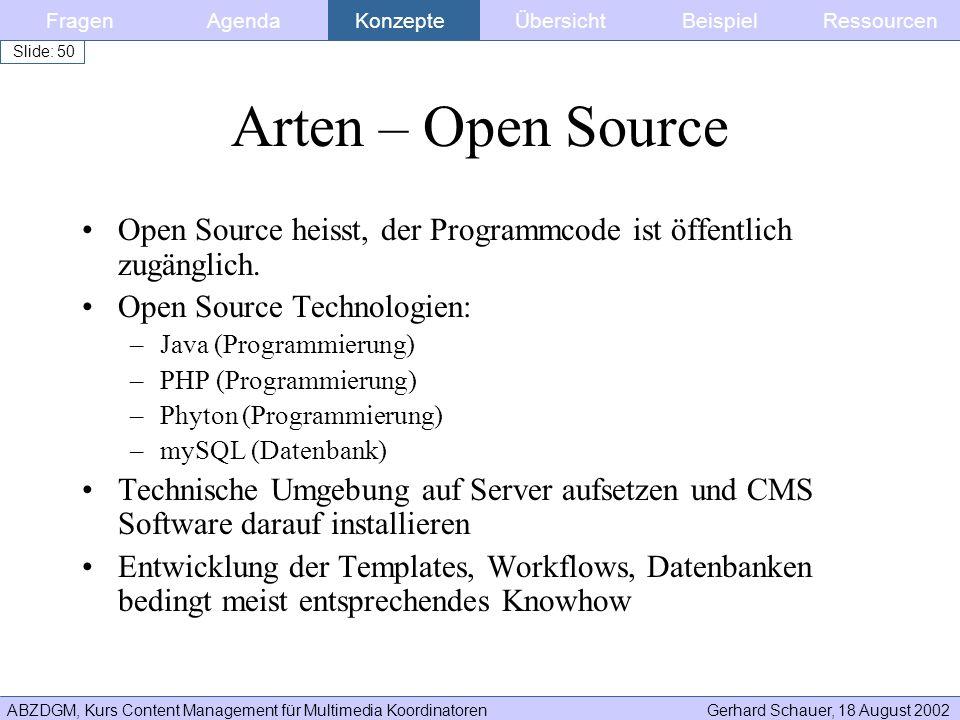 Fragen Agenda. Konzepte. Übersicht. Beispiel. Ressourcen. Arten – Open Source. Open Source heisst, der Programmcode ist öffentlich zugänglich.