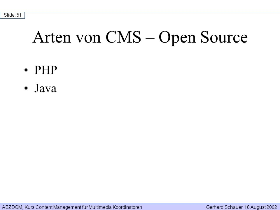 Arten von CMS – Open Source