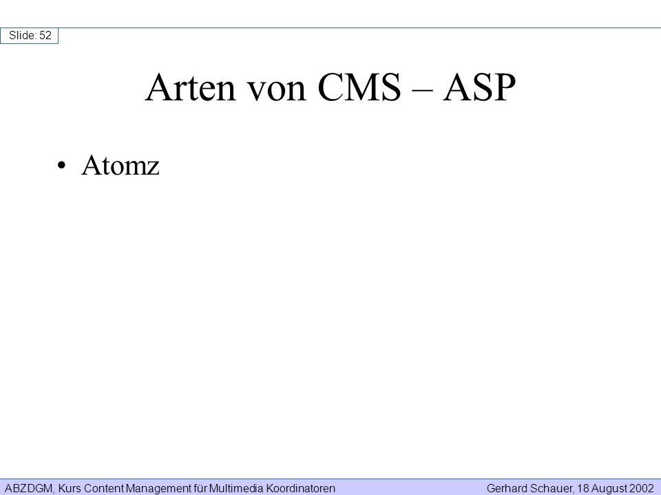 Arten von CMS – ASP Atomz
