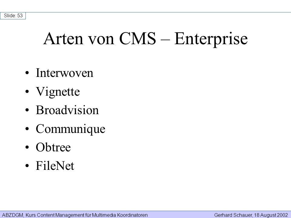 Arten von CMS – Enterprise
