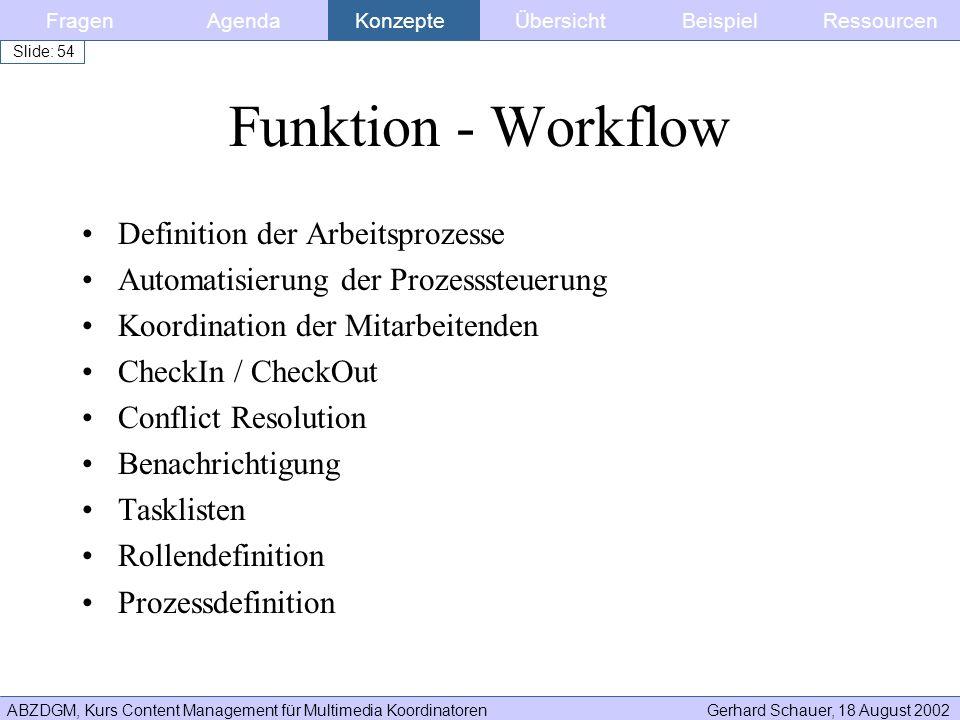 Funktion - Workflow Definition der Arbeitsprozesse