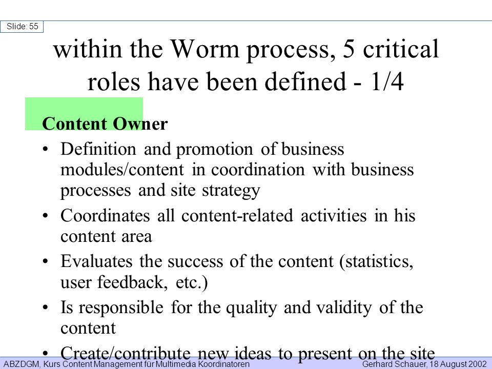 within the Worm process, 5 critical roles have been defined - 1/4