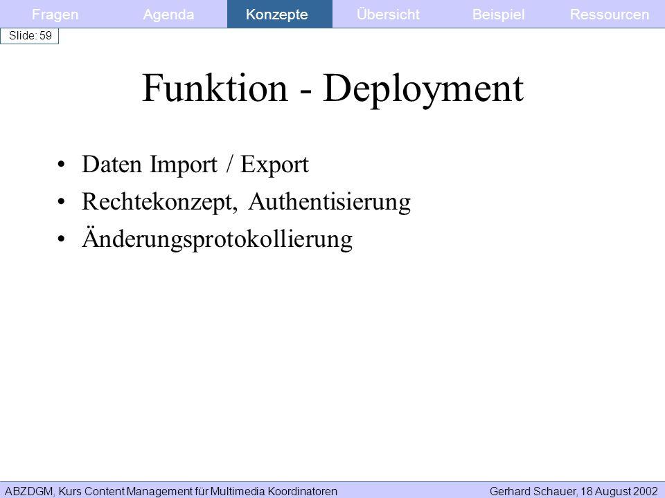 Funktion - Deployment Daten Import / Export