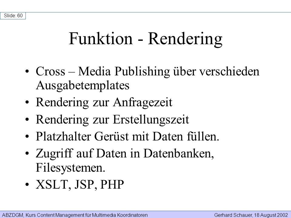 Funktion - Rendering Cross – Media Publishing über verschieden Ausgabetemplates. Rendering zur Anfragezeit.