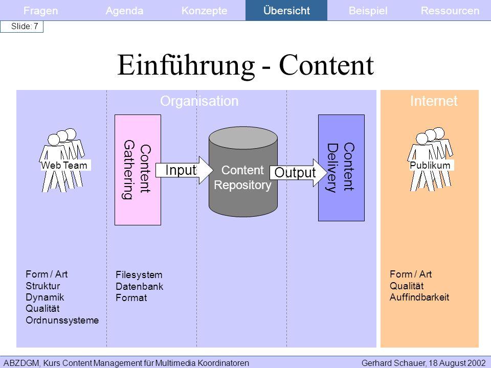 Einführung - Content Organisation Internet Content Gathering