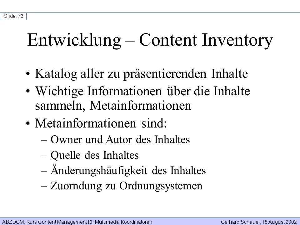Entwicklung – Content Inventory