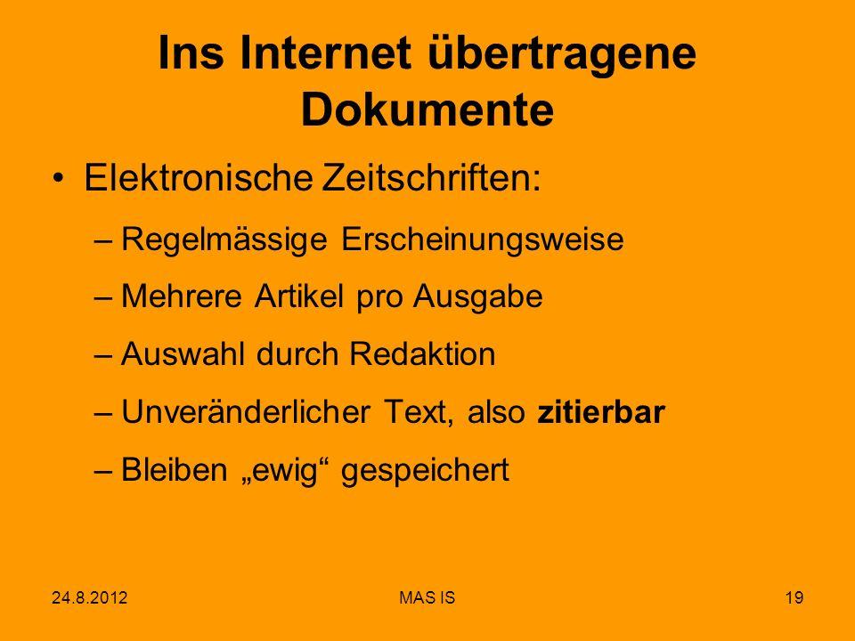 Ins Internet übertragene Dokumente
