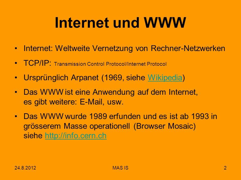 Internet und WWW Internet: Weltweite Vernetzung von Rechner-Netzwerken